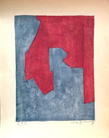 リトグラフ Poliakoff - Composition Rouge et Bleue n°49