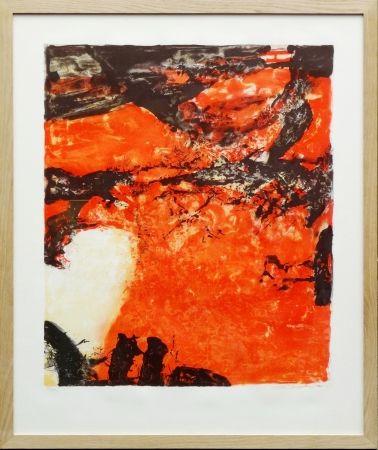 リトグラフ Zao - Composition Rouge Et Noir
