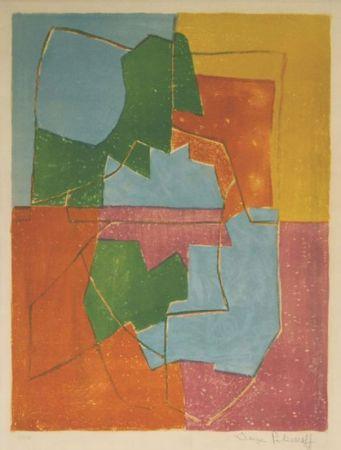 リトグラフ Poliakoff - Composition Rouge Verte Bleue et Jaune n°12