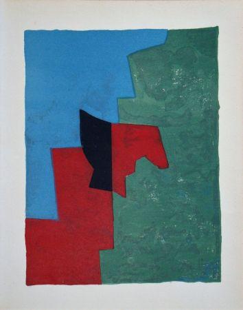 リトグラフ Poliakoff - Composition rouge, verte et bleue