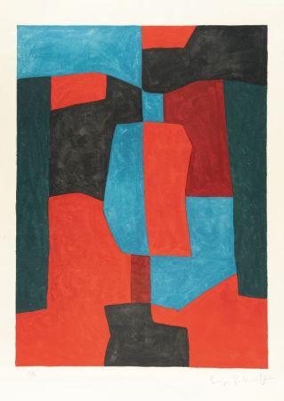 リトグラフ Poliakoff - Composition rouge, verte et bleue n°76
