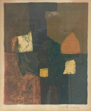 リトグラフ Poliakoff - Composition rouge, verte et jaune n°7