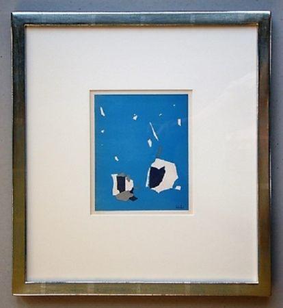 リトグラフ De Stael - Composition sur fond bleu ciel