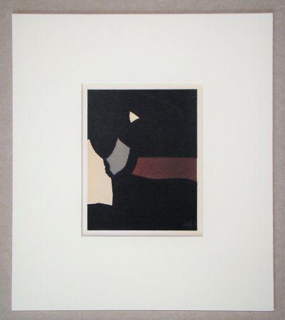 リトグラフ De Stael - Composition sur fond noir