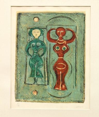 リトグラフ Campigli - Composizione con due figure