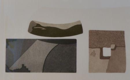 エッチングと アクチアント Pomodoro - Composizione con tre forme in nero