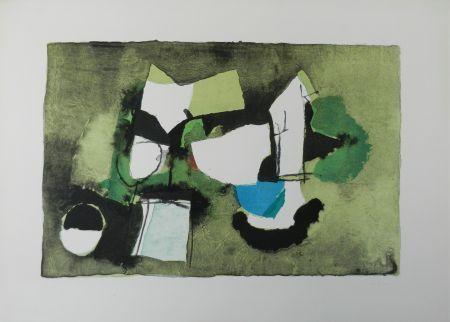 リトグラフ Afro - Composizione in verde