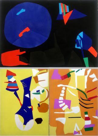 ステンシル Lanskoy - CORTÈGE. Pochoirs originaux n° 11, 12 double et n°13 (1959)