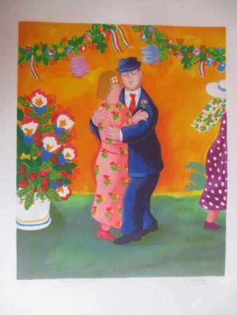 リトグラフ Jirlow - Couple dansant
