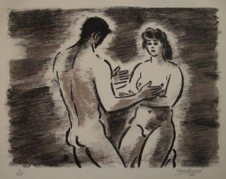 リトグラフ Masereel - Couple de nus