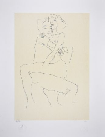 リトグラフ Schiele - Couple enlacé / couple embracing - 1911
