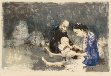 リトグラフ Jansem - Couple with baby