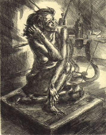 彫版 Sloan - Crouched Nude and Press