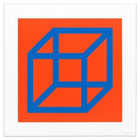 リノリウム彫版 Lewitt - Cubes in Color on Color