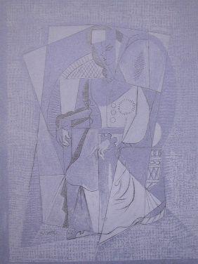 リトグラフ Lhote - Cubistic woman (femme assise)