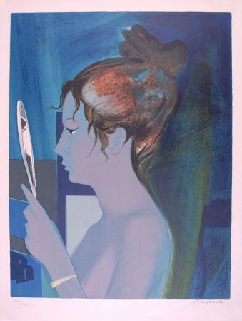 リトグラフ Hilaire - Dame au miroir