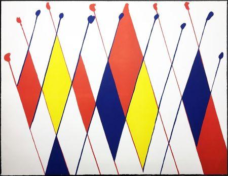 リトグラフ Calder - Damier de losanges bleus jaunes rouges (1966).