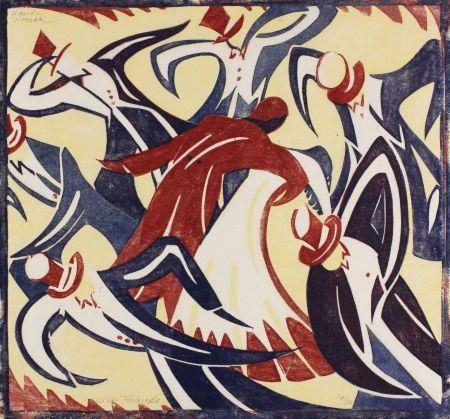 リノリウム彫版 Tschudi - Dancers