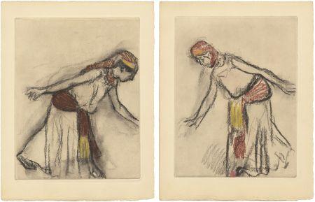 エッチングと アクチアント Degas - Danseuse orientale : 2 études (vers 1890)