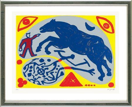 シルクスクリーン Penck - Das Blaue Pferd und der Mongole