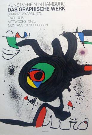 掲示 Miró - DAS GRAPHISCHE WERK. Kunstverein in Hamburg. Affiche originale, 1973.