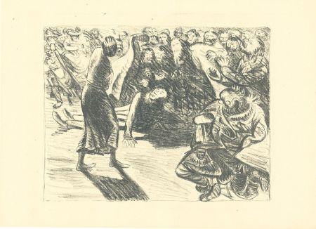 リトグラフ Barlach - Das Paar in der Menge 2 (Heiliger, Strohbraut und Lumpensack)