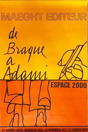 掲示 Adami - DE BRAQUE À ADAMI : Exposition 1974. Affiche originale.