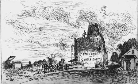 エッチング Jongkind - Demolitions de la rue des Francs-Bourgeois Saint-Marcel