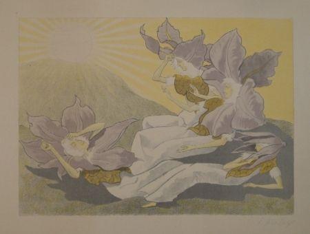 リトグラフ Kreidolf - Der Blumen Erwachen. Vier liegende Clematis-Mädchen erwachen bei der aufgehenden Sonne.
