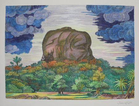 リトグラフ Von Gugel - Der Fels von Sigiriya bei Tag / The Rock of Sigiriya at Daytime
