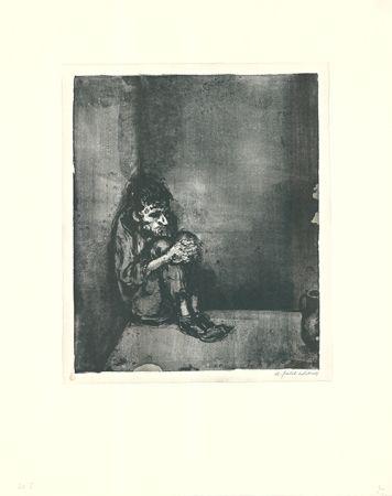 リトグラフ Weber - Der Gefangene (Der Blechnapf)