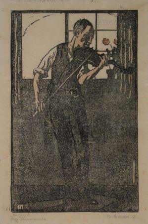 リノリウム彫版 Marxer - Der Geiger