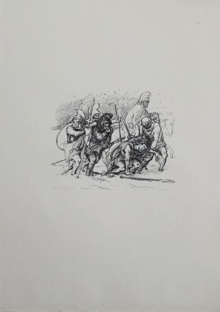 リトグラフ Slevogt - Der schwierige Marsch durch den Schnee