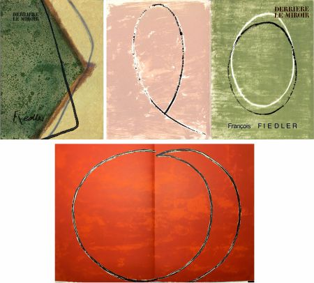挿絵入り本 Fiedler - DERRIÈRE LE MIROIR: COLLECTION COMPLÈTE des 4 volumes de la revue  consacrés François Fiedler: 26 LITHOGRAPHIES ORIGINALES (de 1959 à 1974).
