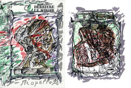 挿絵入り本 Riopelle - Derrière le Miroir n° 218. RIOPELLE. 4 LITHOGRAPHIES ORIGINALES. Mars 1976.