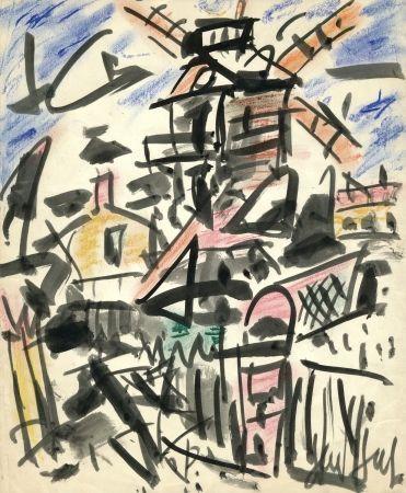 技術的なありません Paul  - Dessin Original / Original Drawing - LE MOULIN DE LA GALETTE - Paris / Montmartre