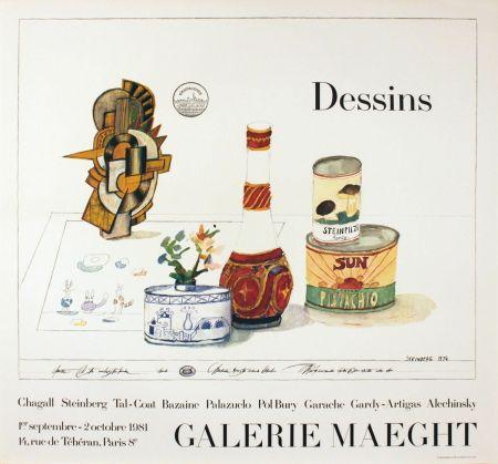 掲示 Steinberg - DESSINS. Galerie Maeght 1981. Tirage de luxe de l'affiche.