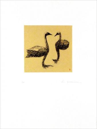 カーボランダム Doerflinger - Deux cygnes en suspension