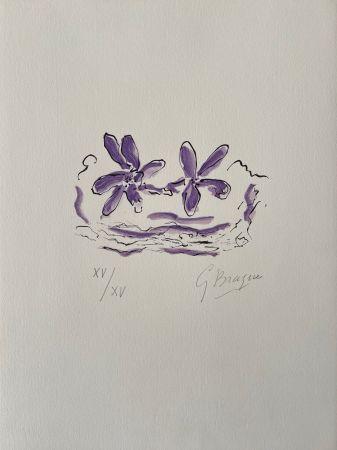 木版 Braque - Deux fleurs violettes