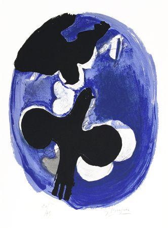 リトグラフ Braque - Deux oiseaux sur fond bleu (Two birds on a blue background)