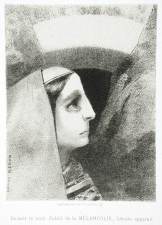 リトグラフ Redon - Devant le noir soleil de la Mélancolie, Lénore apparaît