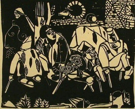 木版 Campendonk - Die Bettler (nach Bruegel) / The Beggars (after Bruegel)
