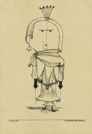 リトグラフ Klee - Die Hexe mit dem Kamm / The Witch with the Comb