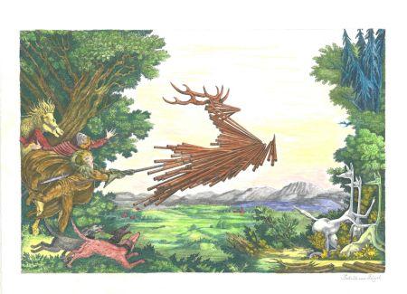 リトグラフ Von Gugel - Die Jagdt ist älter als das Wild