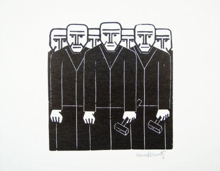 リノリウム彫版 Schmitz - Die Masse (The Mass)
