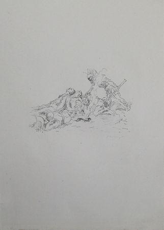 リトグラフ Slevogt - Die Soldaten müssen im Schnee kampieren