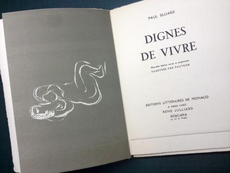 挿絵入り本 Fautrier - DIGNES DE VIVRE. Lithographies de Fautrier. 1944