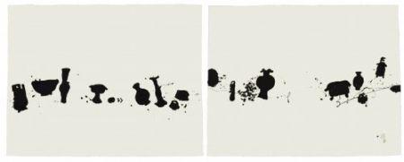 エッチングと アクチアント Wang - Diptych with 2 etchings The Families 1
