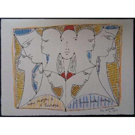 リトグラフ Cocteau - Diversité de l'Europe