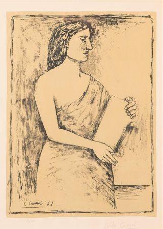 リトグラフ Carra - Donna con Libro